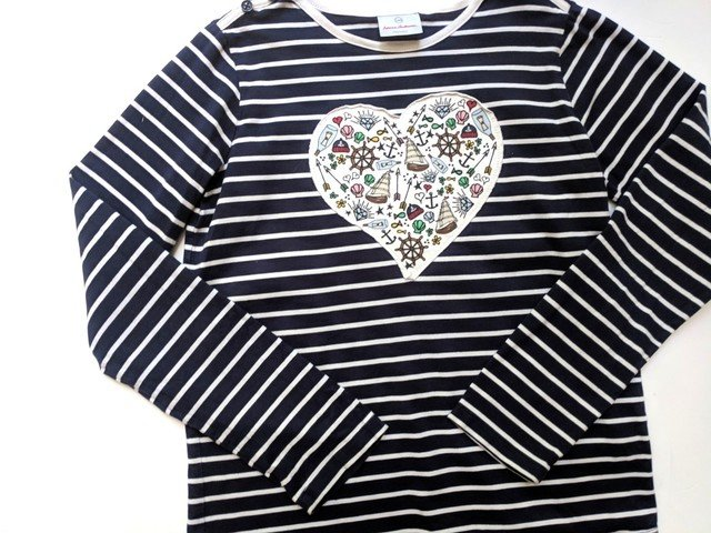 Hanna andersson heart nautical applique navy striped tee top