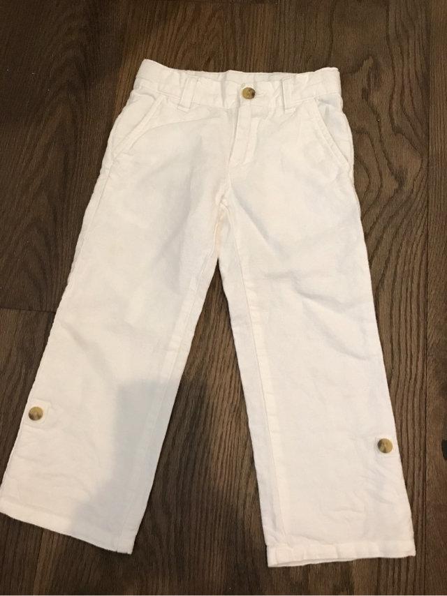 Janie and Jack Boys White Cotton Pants