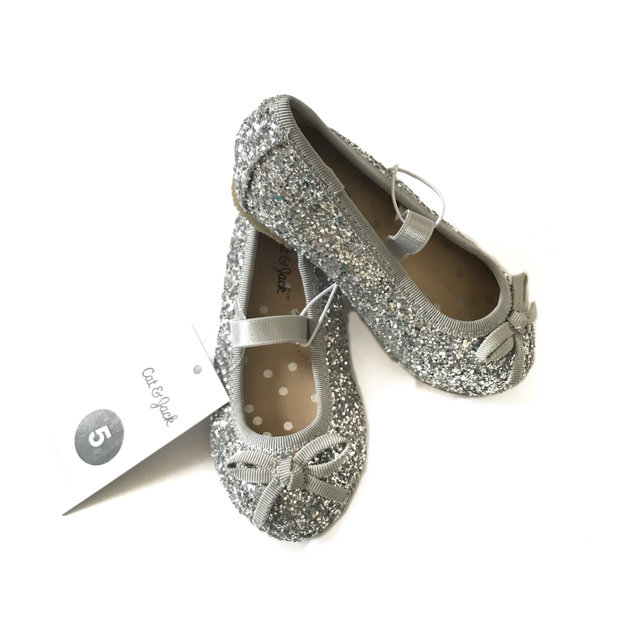 3a4ede862b04 Message Seller; Add to collection Checked collection Add to Collection. Cat  & Jack Infant 5 Girls Shoes Ballet Flats Sparkle Silver ...