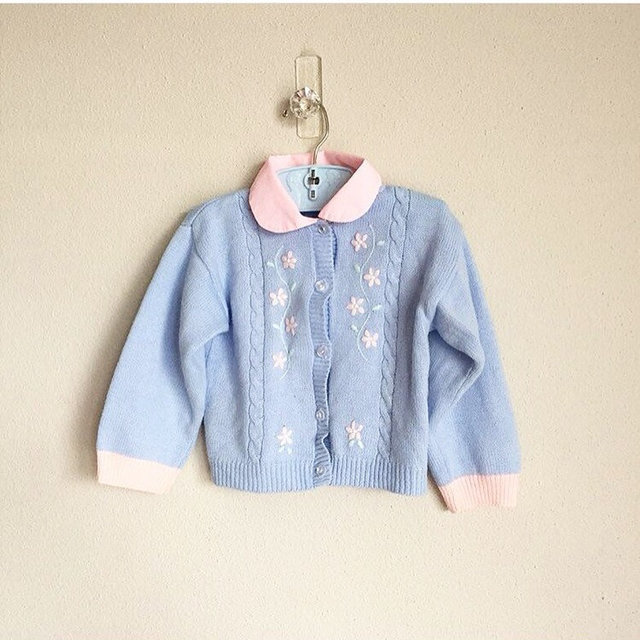 201da8f09 Vintage Pastel Toddler Girl Baby Blue Pink 80s Sweater Knit Cardigan ...