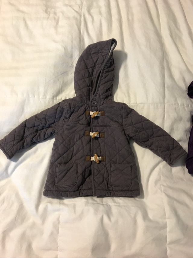 Gray Camping Mini Boden Quilted Jacket