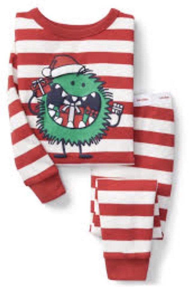 gap christmas pajamas christmas present monster red striped pajamas