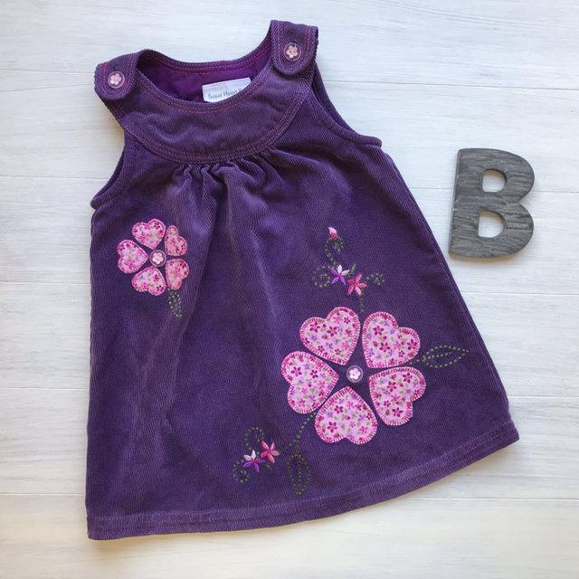 c89bf761e7aa Created with Sketch. Created with Sketch. Add to Collection. Toddler Girls  Purple Corduroy Floral Appliqué Jumper Dress