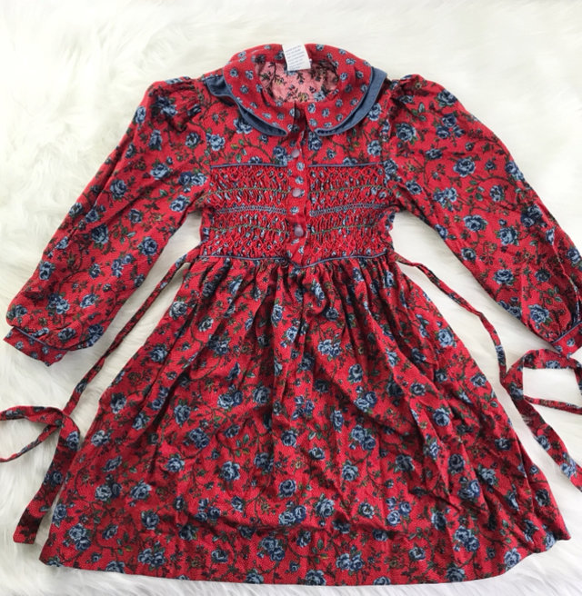 a40e9cac27f2 Vintage Polly Flinders Smocked Dress