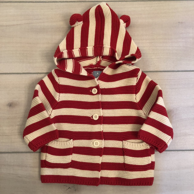 617670d21a8e NEW Baby Gap Red   White Striped Hooded Sweater