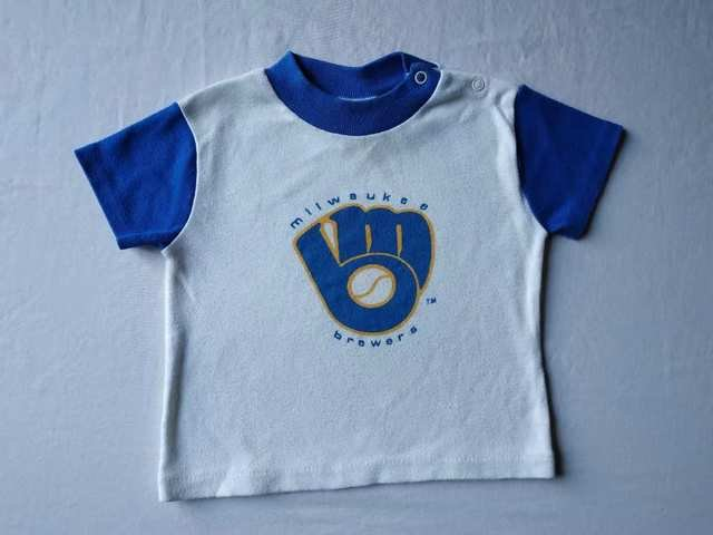 e2986f06d7f MLB Milwaukee Brewers Baby Infant Boys 24 Months White Blue Tee Shirt Top  Jersey