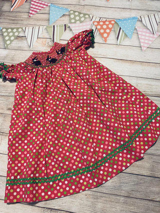 0e4a950482 Little Bunny Smocked Polka Dot Dress