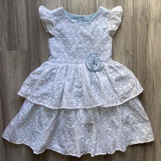a1f886f2dab85 Frais Flutter Sleeve Tiered Eyelet Dress