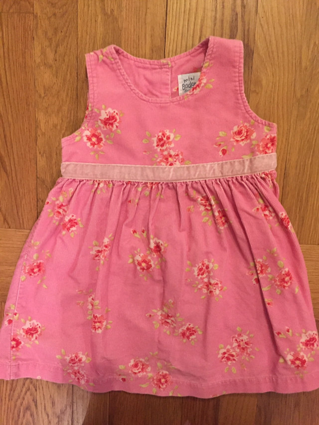 503072f9 Mini Boden 12-18 Mo Pink Floral Corduroy Pinnie
