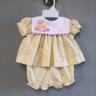 30cd8f216 BBS Yellow Stripe Dress Chicken & Egg Vintage