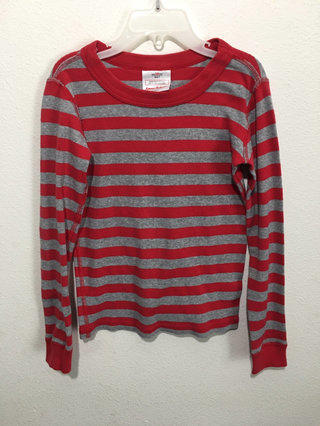 cca12ef6f93d7 Hanna Andersson Pj Pajama Shirt Size 120 6-7 Red Gray Stripes Euc