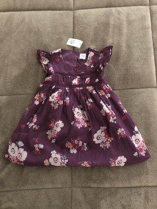 7ae8106a07a NWT Baby Gap Plum Chiffon Floral Dress 18-24 Month