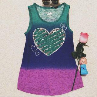80c8a753c0214 Justice Purple Teal Heart Glitter Tank Top Girls Size 10