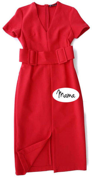567aa543cc35 👩 👧Mama👩 👧 Zara Belted Sheath Red Dress.