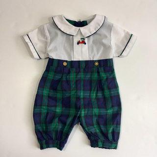 49541e749 Vintage Baby Boy's Good Lad Of Philadelphia Plaid Dress Romper 0 3 6 Months