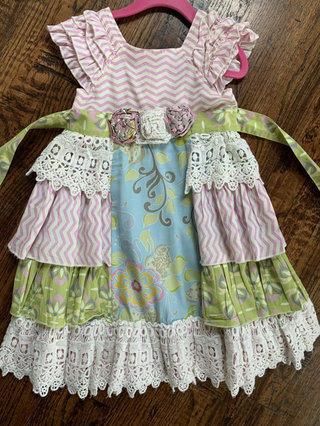 08658f77690986 Tiered Floral Mustard Pie Dress Sz 3T