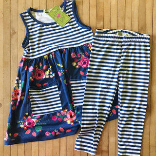 8fdce61c77ae28 Millie Loves Lily Floral Stripe Dress And Pant Outfit 3T