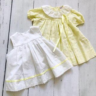 f6ec42696 Vintage 2 Piece Yellow Apron Dress