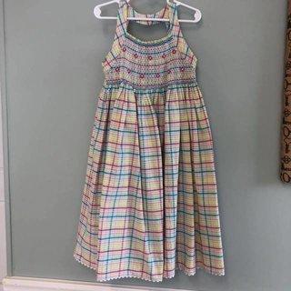 bcf9991e7 Strasburg Size 7 (est no tag) plaid seersucker smocked front dress with  open back