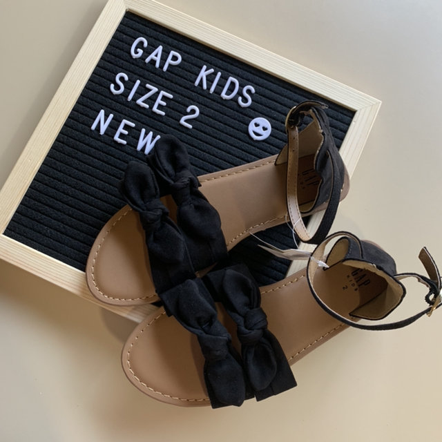 Black Double Bow Sandals By Gap Kids - NEW