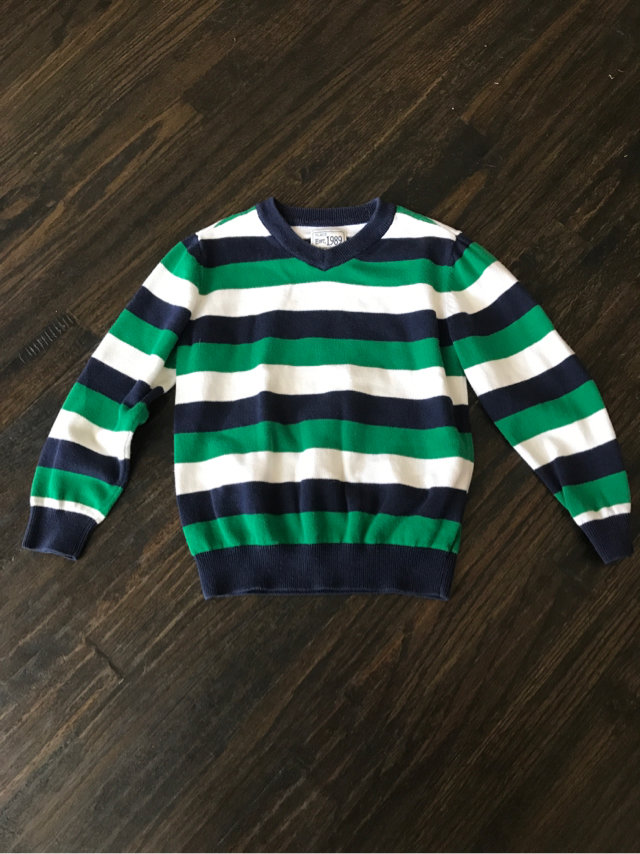 Childrens Place Boys BlueGreenWhite Striped V Neck Sweater