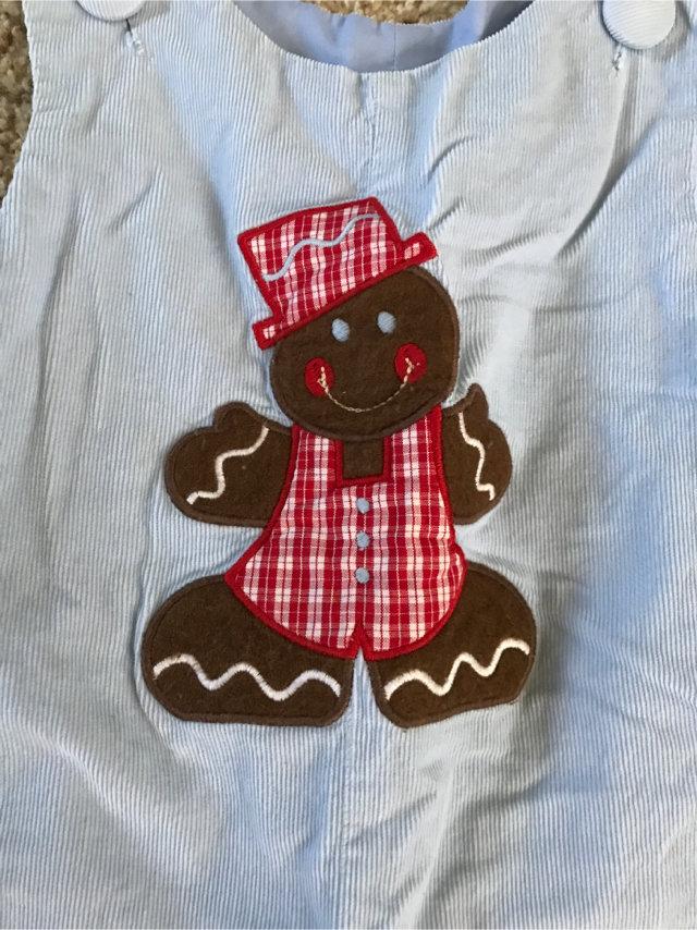 NWT Zuccini Light Blue Corduroy Gingerbread Man Christmas Short Sleeve Romper