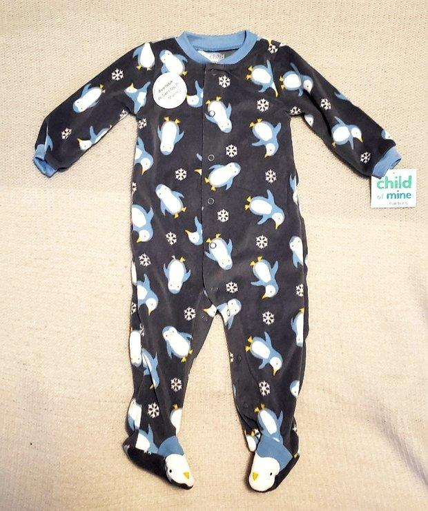 NWT OLD NAVY PINK HOLIDAY CHRISTMAS FOOTED SLEEPER 0-3