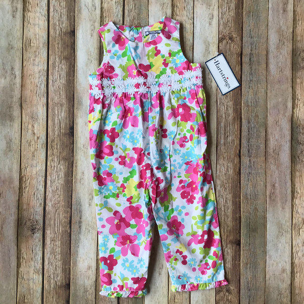 NEW Hartstrings Floral Coveralls Romper Yellow Green Spring 12 /& 18 Mo NWT