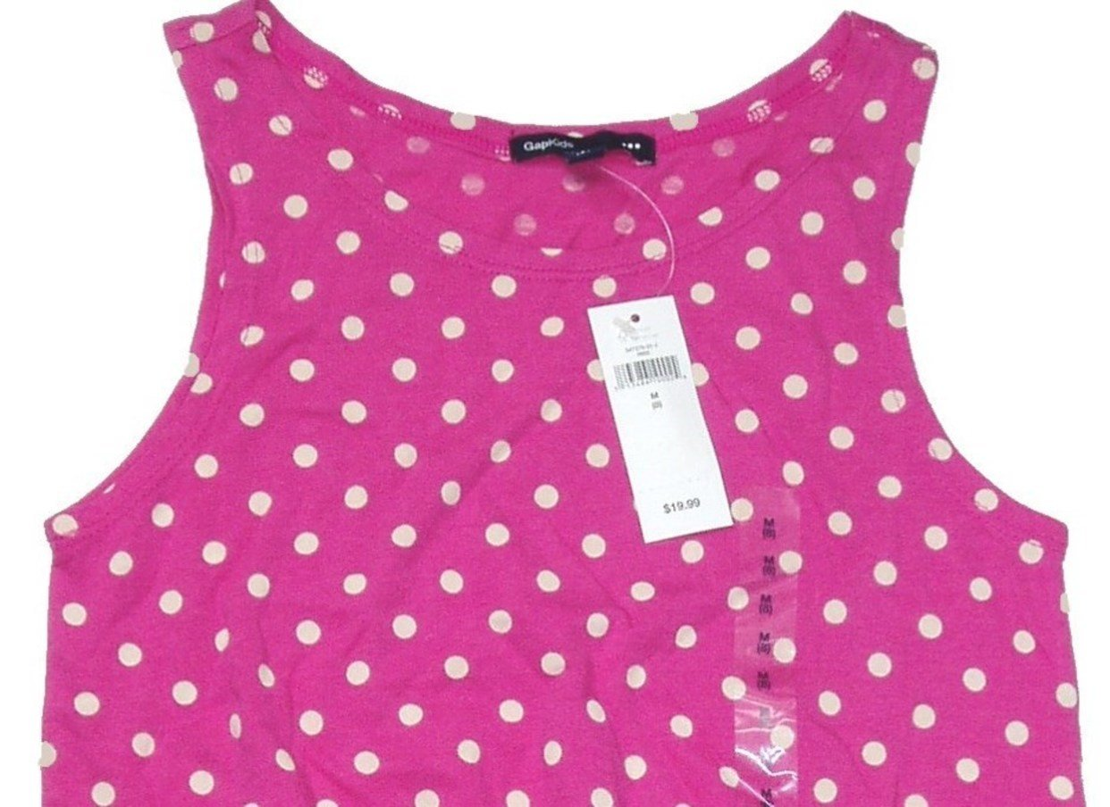 GAP Girls Tank Top Sleeveless Summer Spring Shirt YELLOW Polka Dot 6 7 14 16 NEW