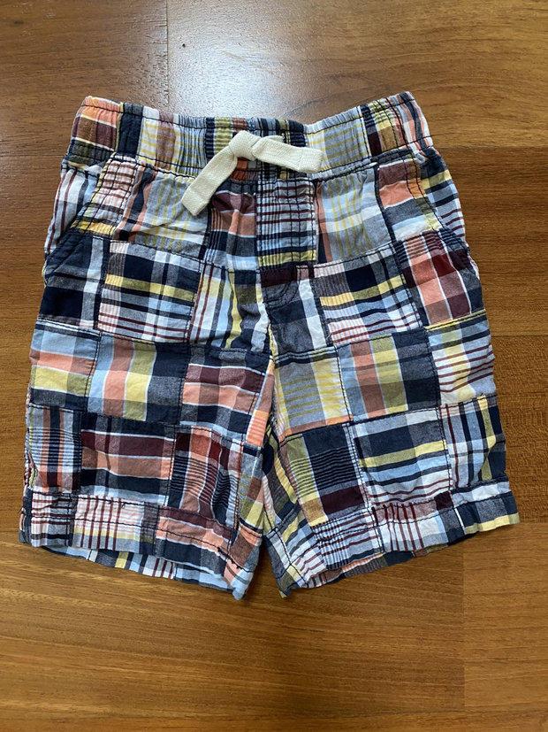 Gymboree 2T Checked OR Plaid Shorts Navy Blue Orange Green White Drawstring Boys
