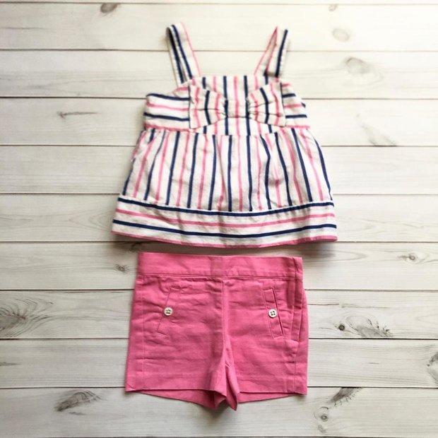 Janie and Jack Baby Unisex Romper  Pink and White Striped Palm Trees Resort