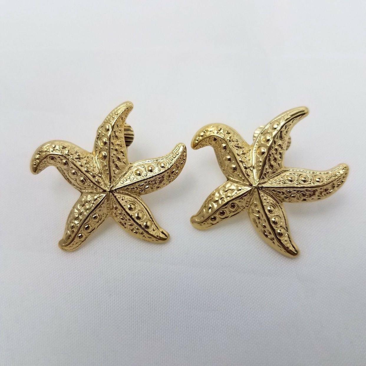 GOLD TONE STARFISH Earrings Vintage