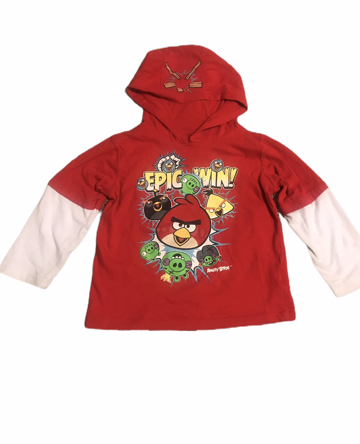 Angry Birds Epic Win Hooded Shirt Size 4