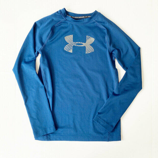 Under Armour gray long-sleeved logo top /& pink leggings set NWT girls/' M YMD