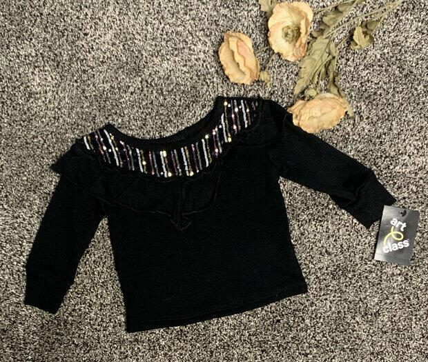 Large Art Class Girls Silver Star Grey Sweater Ruffle Sleeves New