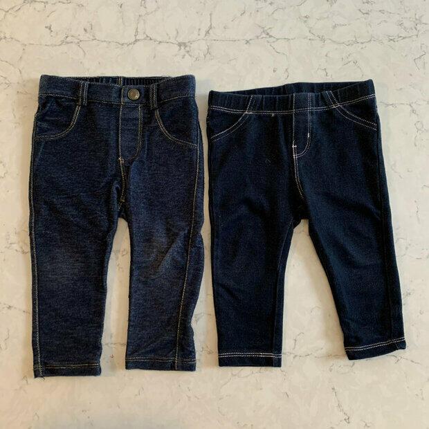 Girls Double Ruffle Jean Capri Pants Sizes 6M 12M 18M 2T 3T 4T 5 6 7 8 Fall NEW