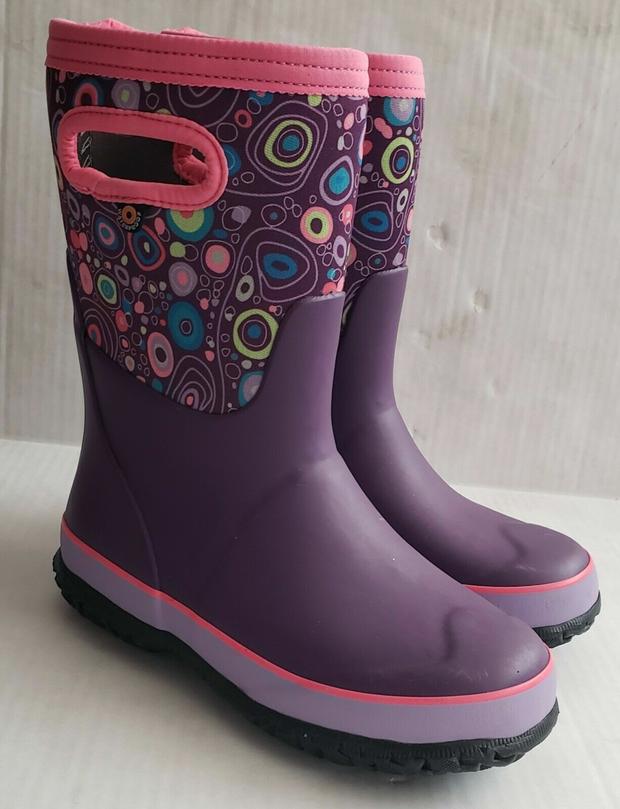 Bogs Purple Circle Pink Print Insulated Winter Snow Rain Boots Girls Waterproof