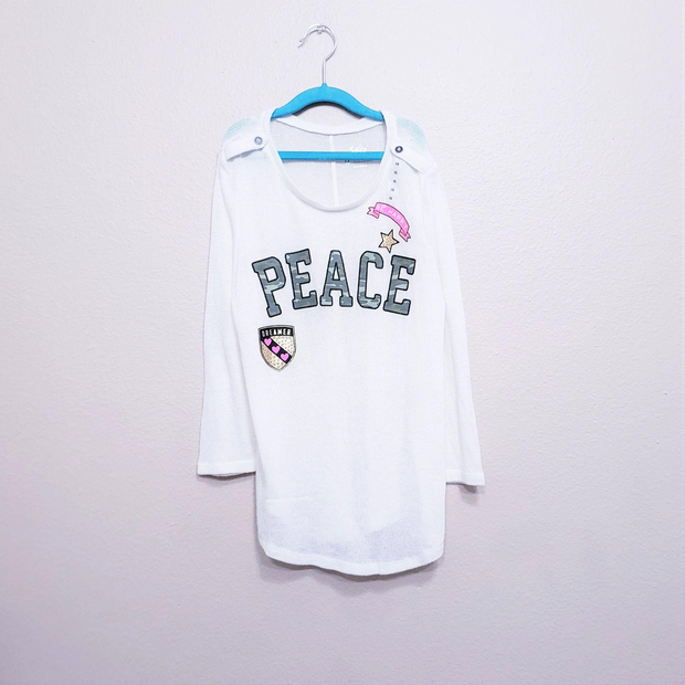 NWT Girls Justice Outfit Peace Sign top//Leggings Size  12 16 18