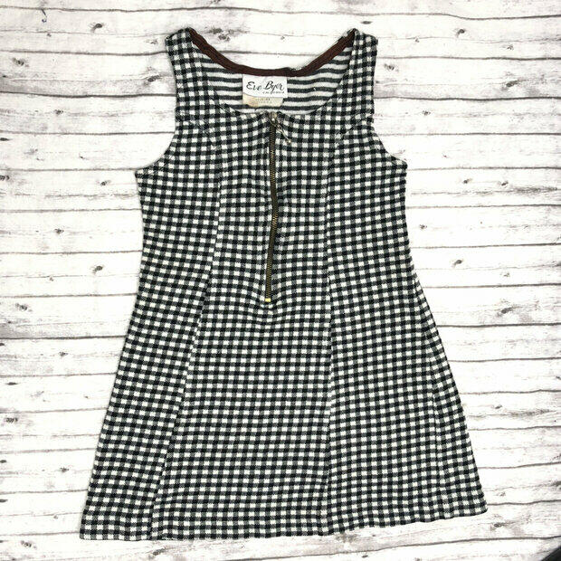1970s DEADSTOCK Black and White Checker Print Sweater