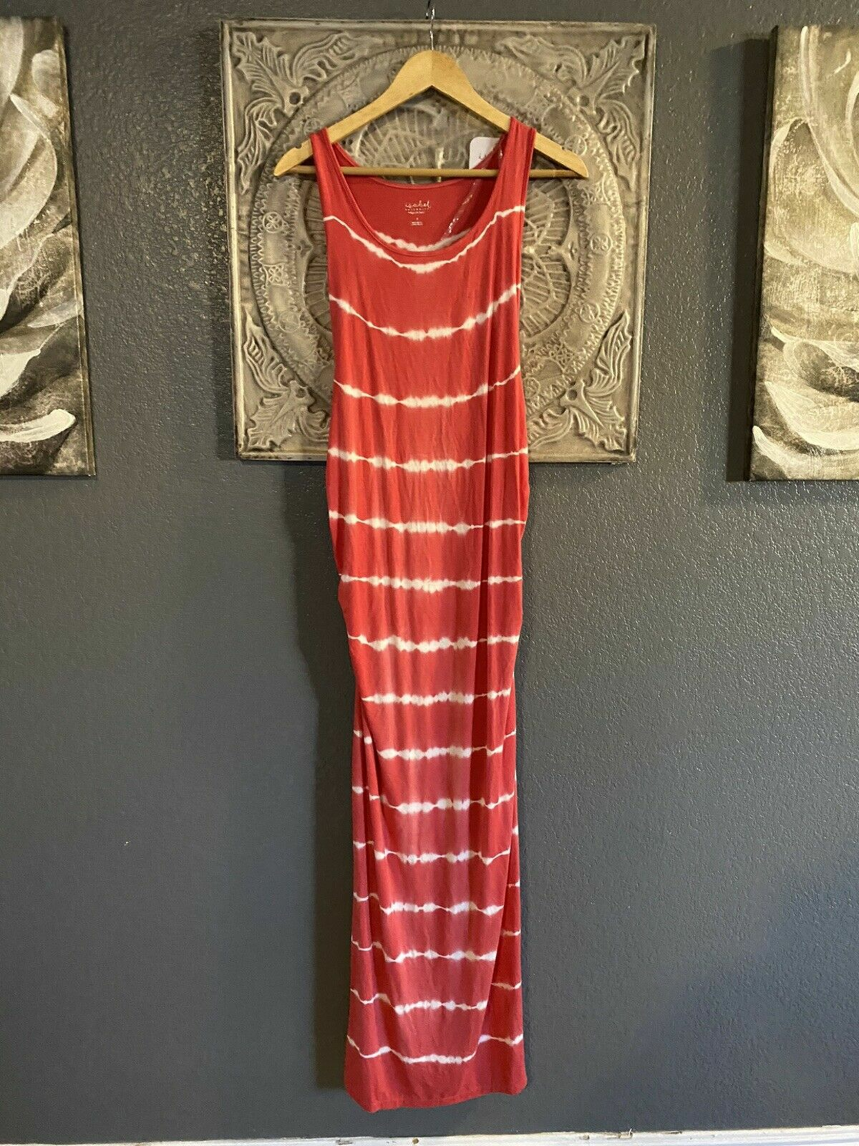New Ingrid Isabel Maternity Tie Dye Long Maxi Dress Red White Womens Size S