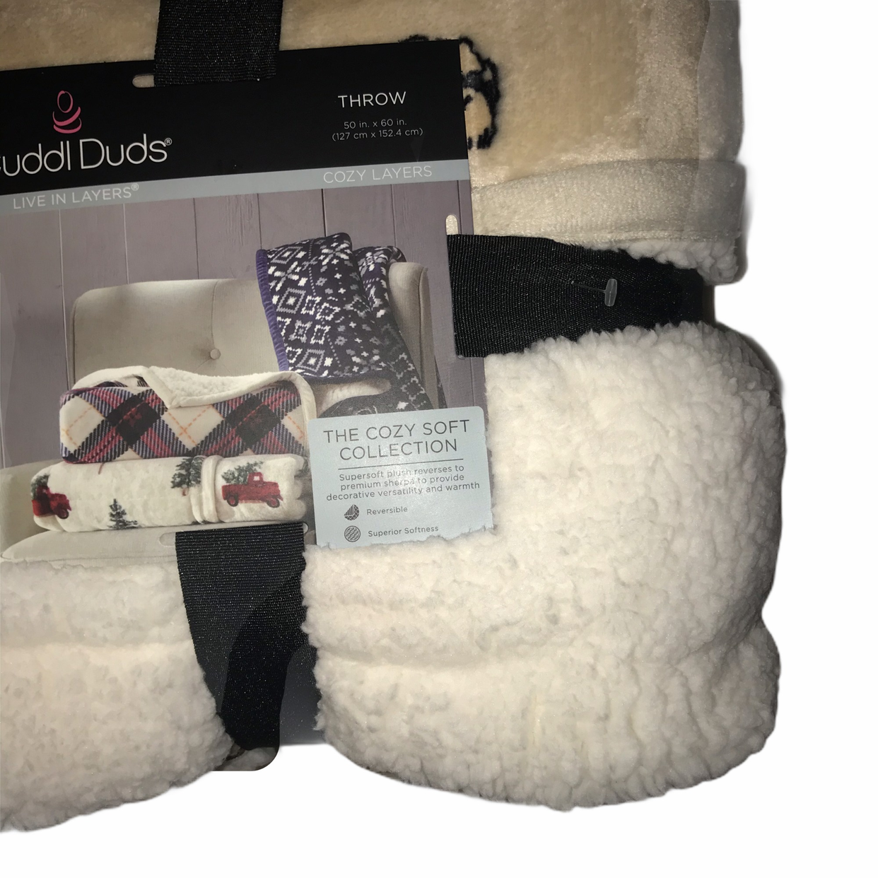 """NEW Cuddl Duds Plush Tan with DOGS Sherpa Reversible Throw 50/'/'X60/"""""""