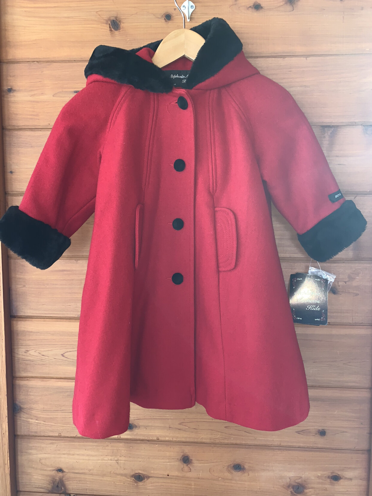 Stephanie Mathews Kids girls size 4 black and red wool and faux fur trim hooded double breasted coat