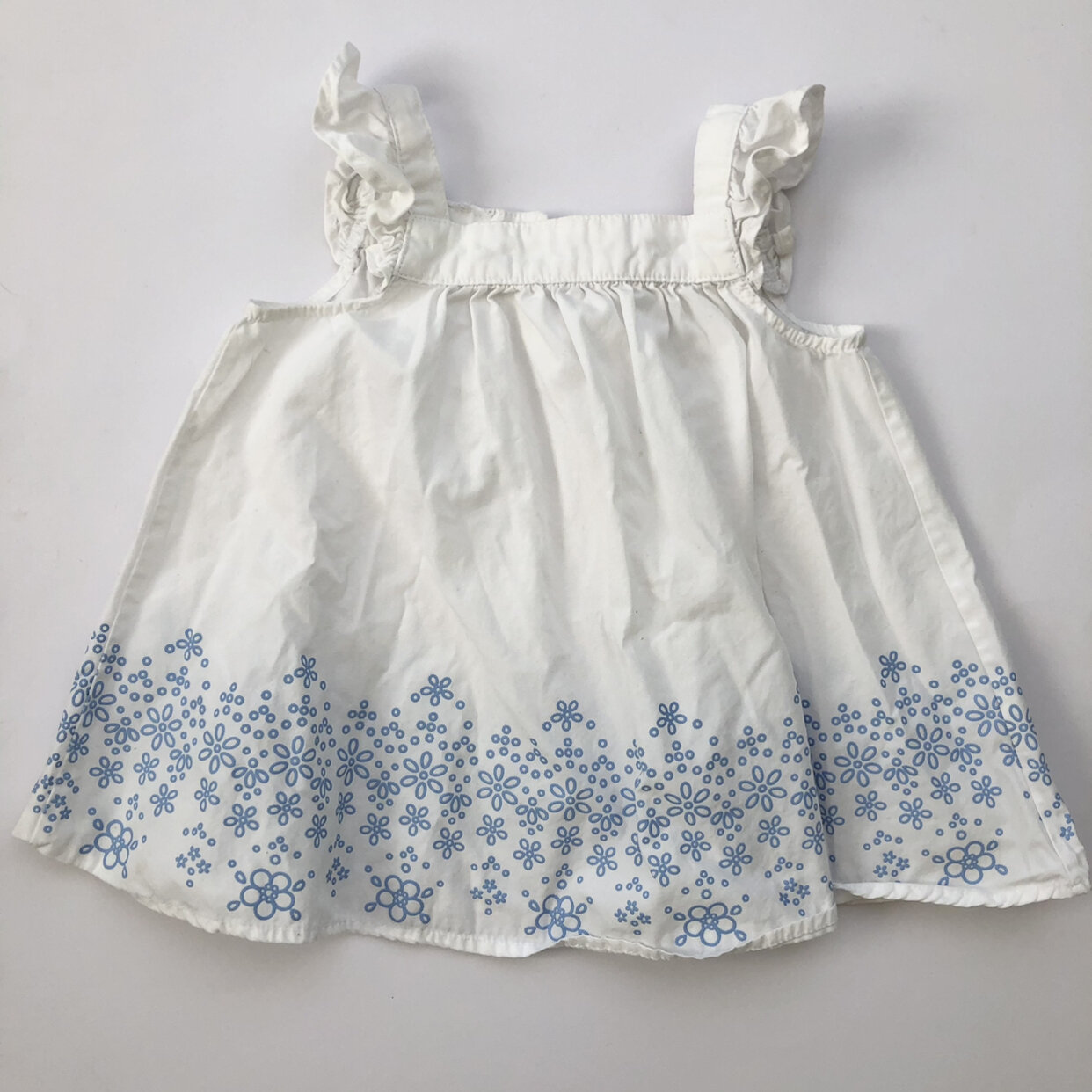Macy S White And Blue Dress With Lace Pattern Detail 24 Mo