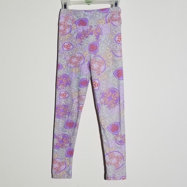 LuLaRoe Kids Leggings S//M Small Medium Purple Orange Yellow Teal Design