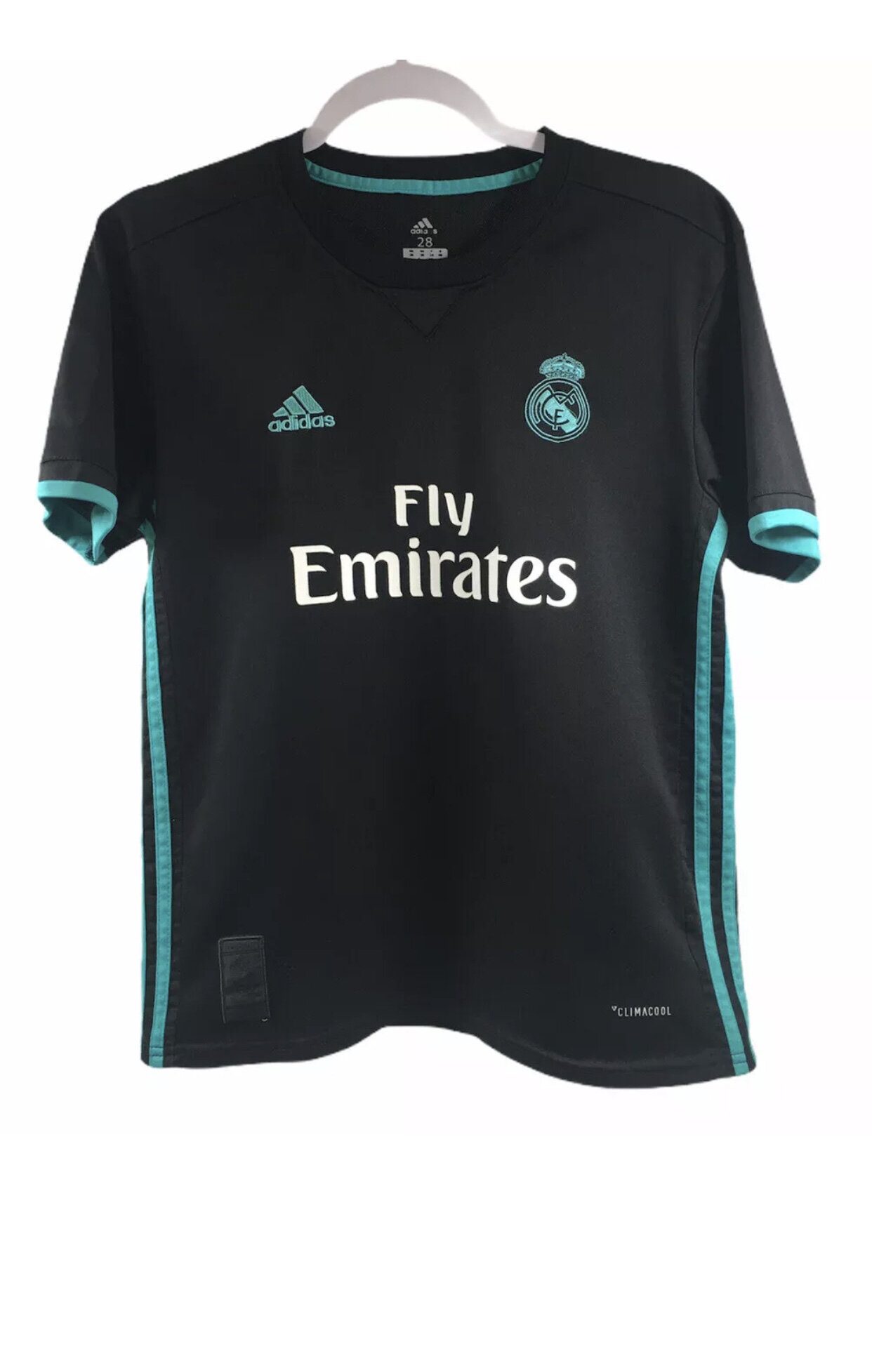 Adidas Fly Emirates Real Madrid Soccer Jersey Black/Teal Size 28