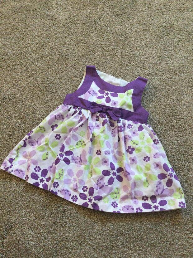 18 Month Spring Pink Dress-Lavender and Pink Stripe