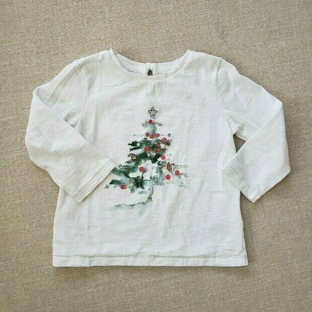 NWT 3//4 5//6 Mini Boden Gray Christmas Tee w// Sparkly Reindeer Christmas