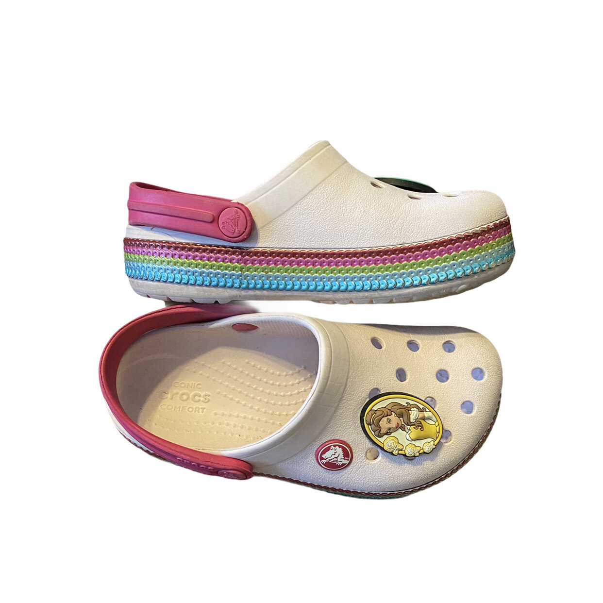 New Crocs Kids Ocean Minded Charm Meilani Girls Size C10//11 White