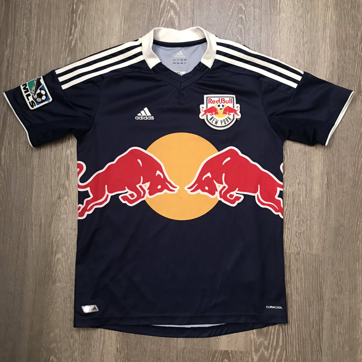 Adidas New York Red Bulls Soccer Jersey MLS Climacool Youth Size Large