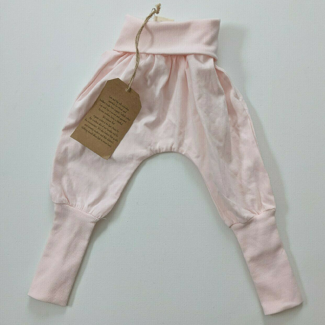 Organic muslin pants with co-wax cuffs Harem pants SAND